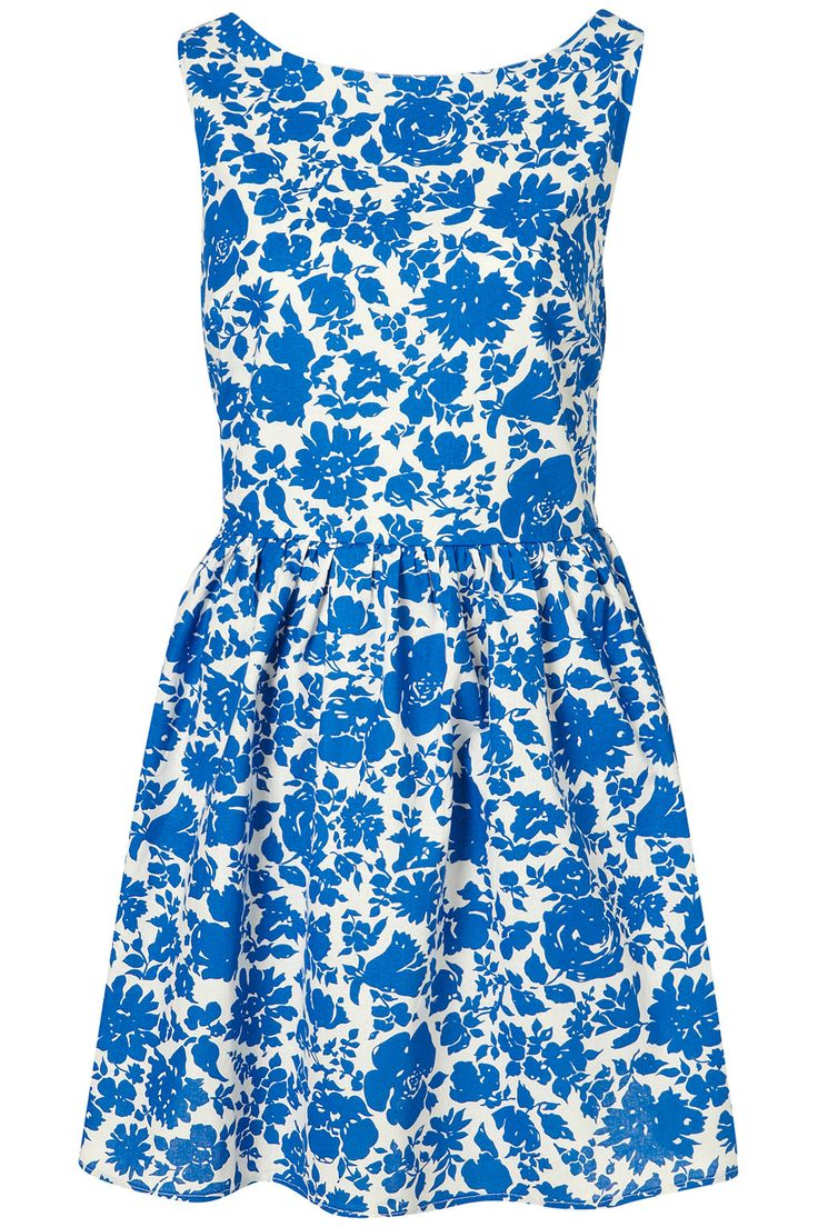 topshop blue pink floral lantern dress