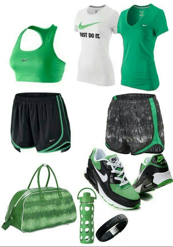 Black green nike gym outfit