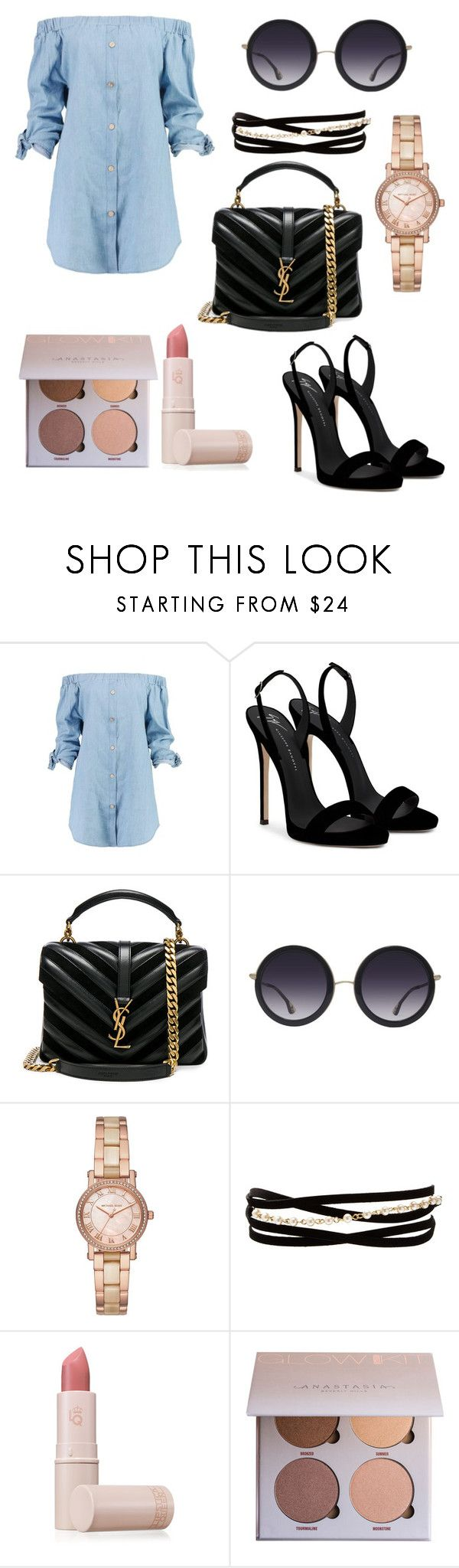 """Untitled #76"" by biswajit-prabhu ❤ liked on Polyvore featuring Boohoo, Giuseppe Zanotti, Yves Saint Laurent, Alice + Olivia, Michael Kors, Kenneth Jay Lane and Lipstick Queen"