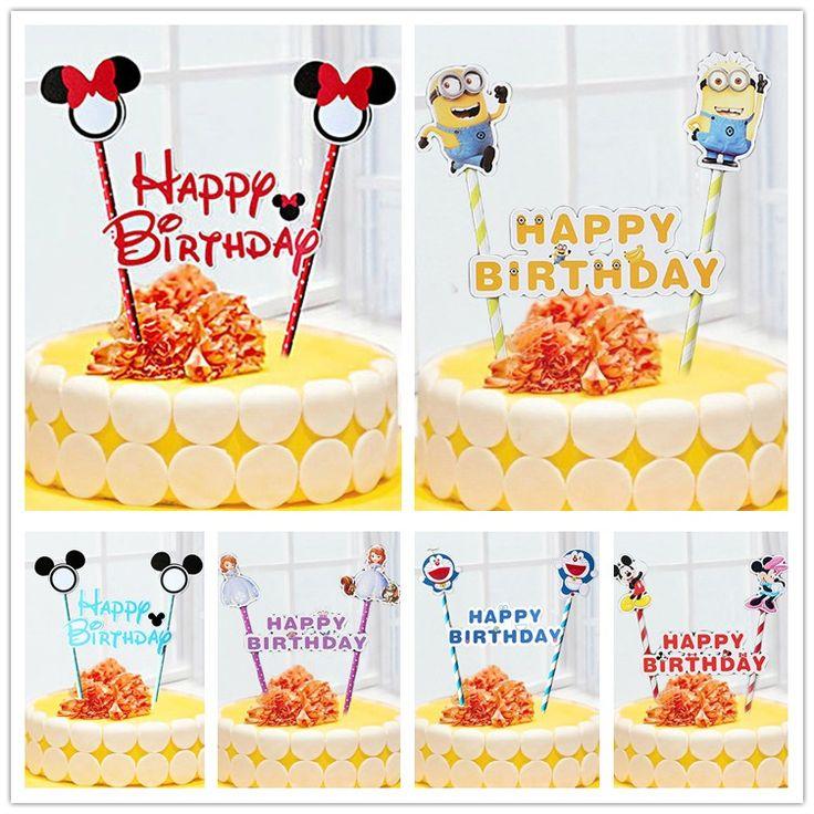 1 компл. Микки Минни Маус кекс торт топпер торт флаги бумаги соломы ребенка душа…