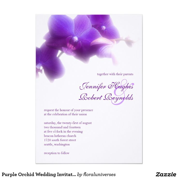 "Purple Orchid Wedding Invitation**EXPLORE an Amazing Collection of  ""Theme Matching Wedding Invitation Sets"" by Visiting... http://www.zazzle.com/weddinginvitationkit"