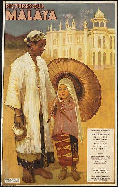 Picturesque Malaya travel poster -- Malay woman and child with Kuala Lumpur Railways Station and hotel in the background; Lithographers Ltd., Singapore (1910-1959)