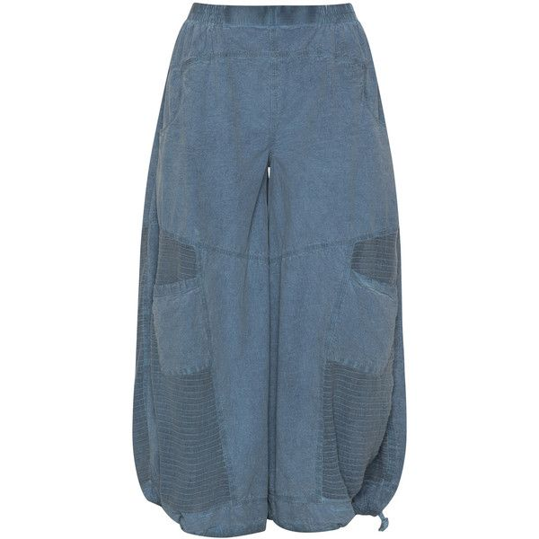Kekoo Blue Plus Size Balloon shape cotton trousers ($66) ❤ liked on Polyvore featuring pants, blue, plus size, wide leg pants, wide leg trousers, women's plus size pants, balloon pants and wide-leg pants