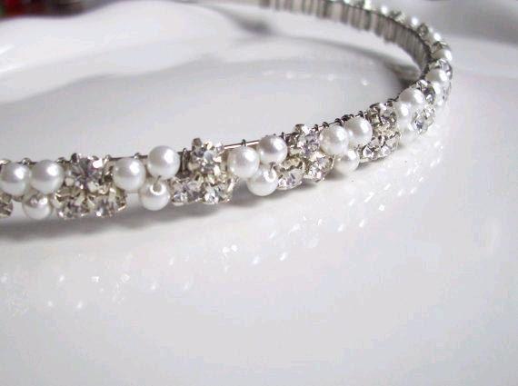 Wedding Headband Head Band Pearl Rhinestones Ivory or White -- Isla