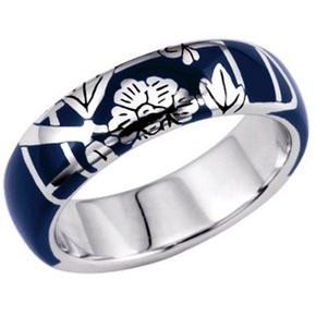 KENZO Fedora Floral Navy Resin Ring