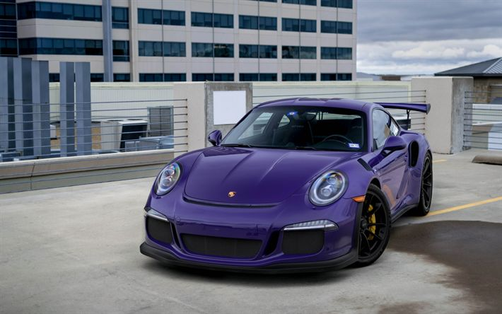 Download wallpapers Porsche 911 GT3RS, 2018, purple sports car, black wheels, tuning, sports coupe, Porsche