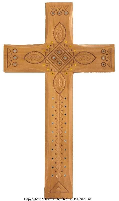 Ukrainian Hand Carved Carpathian Wood Cross # WCR1602 on AllThingsUkrainian.com