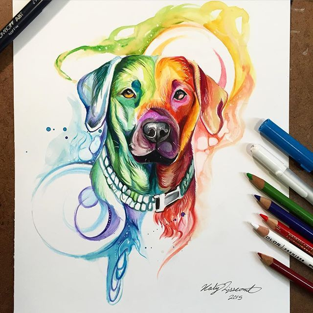 351  A commission from a lovely lady of her dog ❤️ I am just finishing up a few more December commissions (most of which will be posted after Christmas since they are gifts). #art #drawing #dog #rainbow
