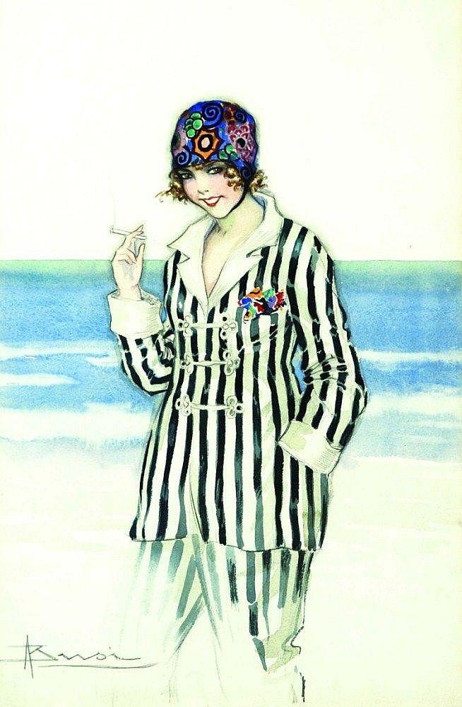 Adolfo Busi  - Ragazza in spiaggia con sigaretta