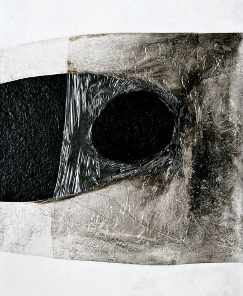 White Plastic (1966) Plastic, acrylic, vinavil & combustion on cellotex