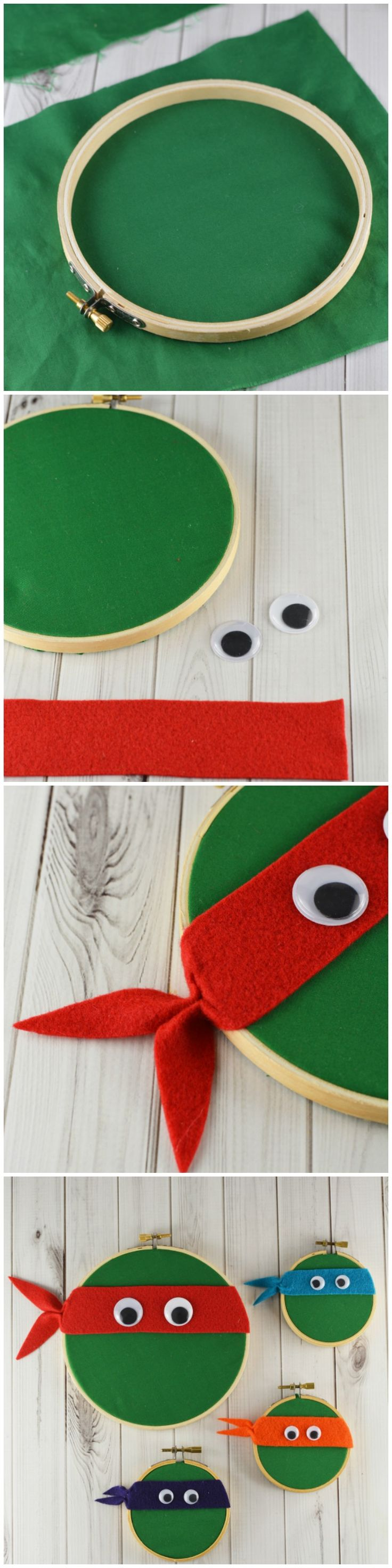 Have a teenage mutant ninja turtle fan on hand? Here is a fun TMNT embroidery hood craft, hand out as gifts, or party favors.