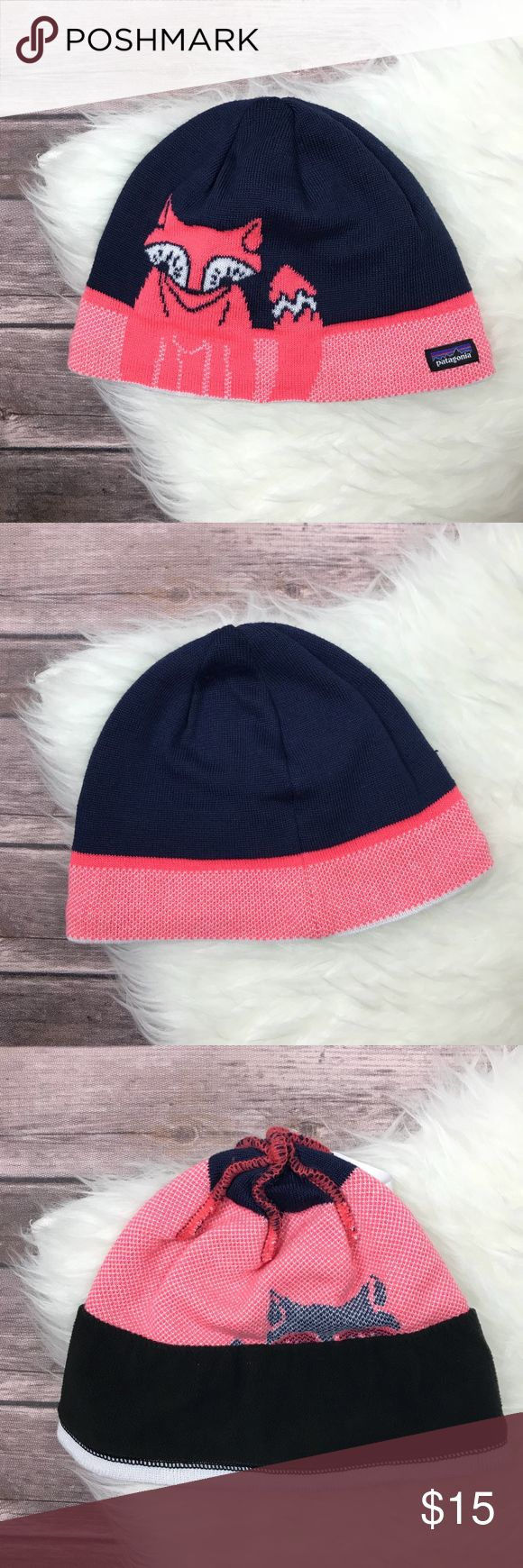 PATAGONIA Beanie Hat Fox Print Navy Pink Fleece Girls' Patagonia beanie in excellent condition! No holes or stains but there is a loose thread (see photo). Fleece lined inner headband, adorable fox print! Patagonia Accessories Hats