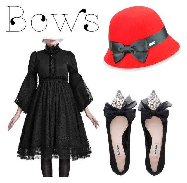 """#bows"" by ralugoii on Polyvore featuring Betmar and Miu Miu"