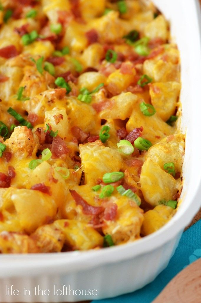 Loaded Chicken and Potato Casserole. This is an easy casserole to make and packed with tons of flavor! Life In The Lofthouse