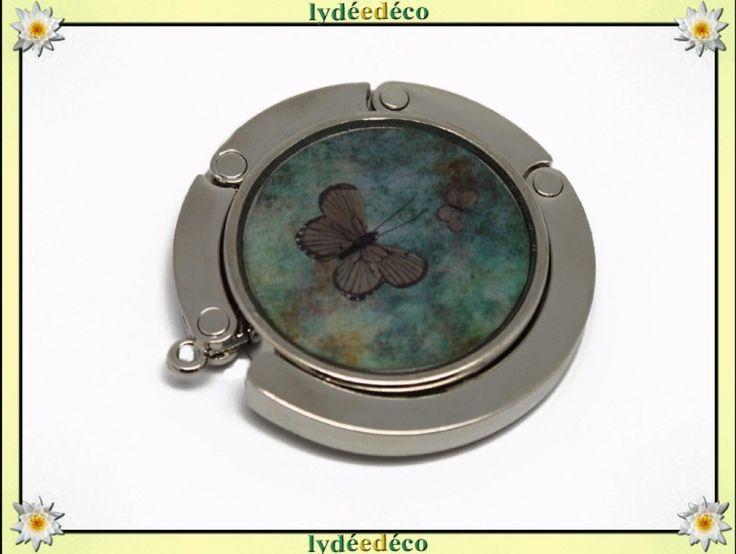 Accroche sac retro Papillons vert et brun en resine sur metal argent