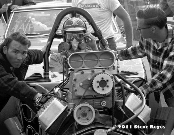 """Leroy Chadderton - Leroy Chadderton piloted the Hawkins, Cowie, Chadderton, and Scull AA/.FA to take home gold in the Fuel Altered class. Walker and Geary's AA/FA faced Chadderton in the Final. A8.27/183.60mph and victory for Chadderton. Photo by Steve Reyes at Bakersfield """"Smokers"""" March Meet in 1967."""