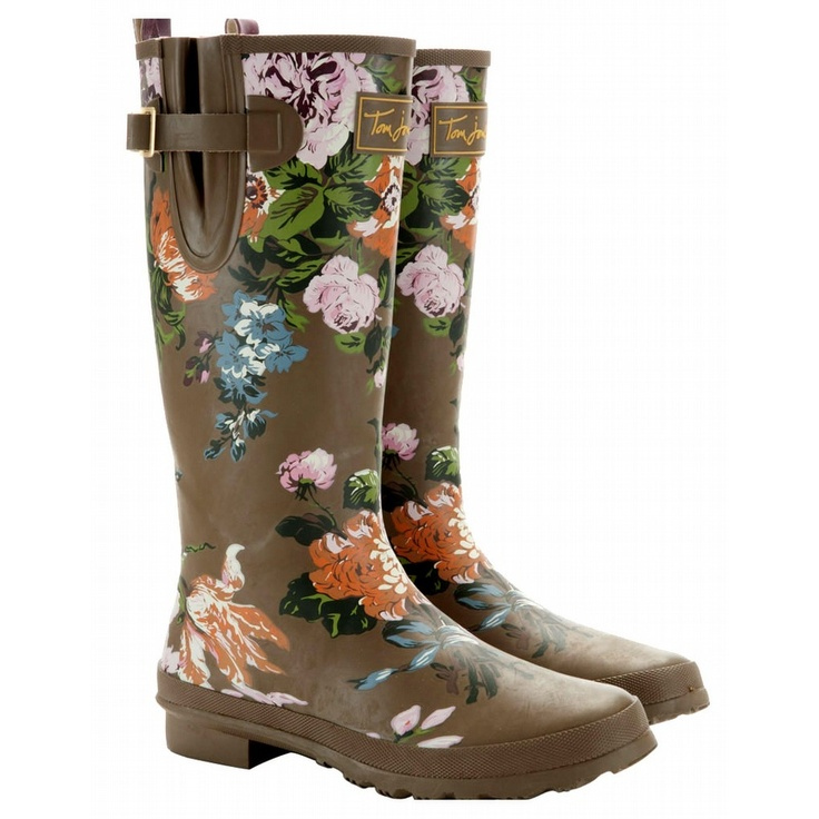 joules walnut floral womenu0027s printed welly rain boots i love these brown garden boots with