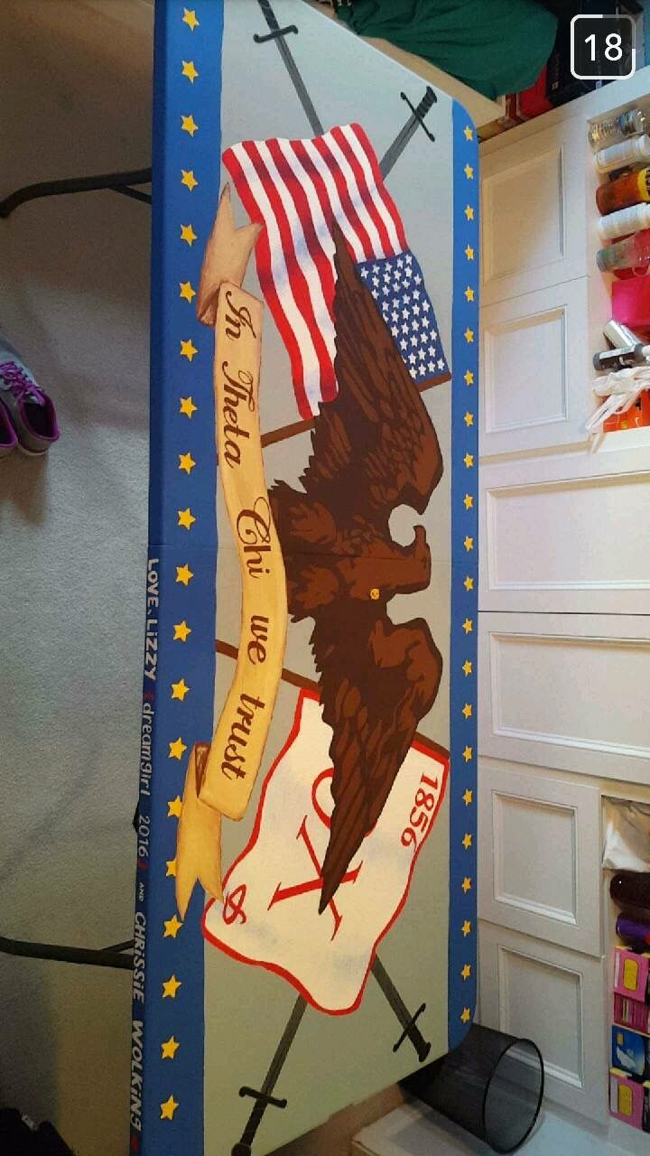 theta chi eagle american flag fraternity beer pong table