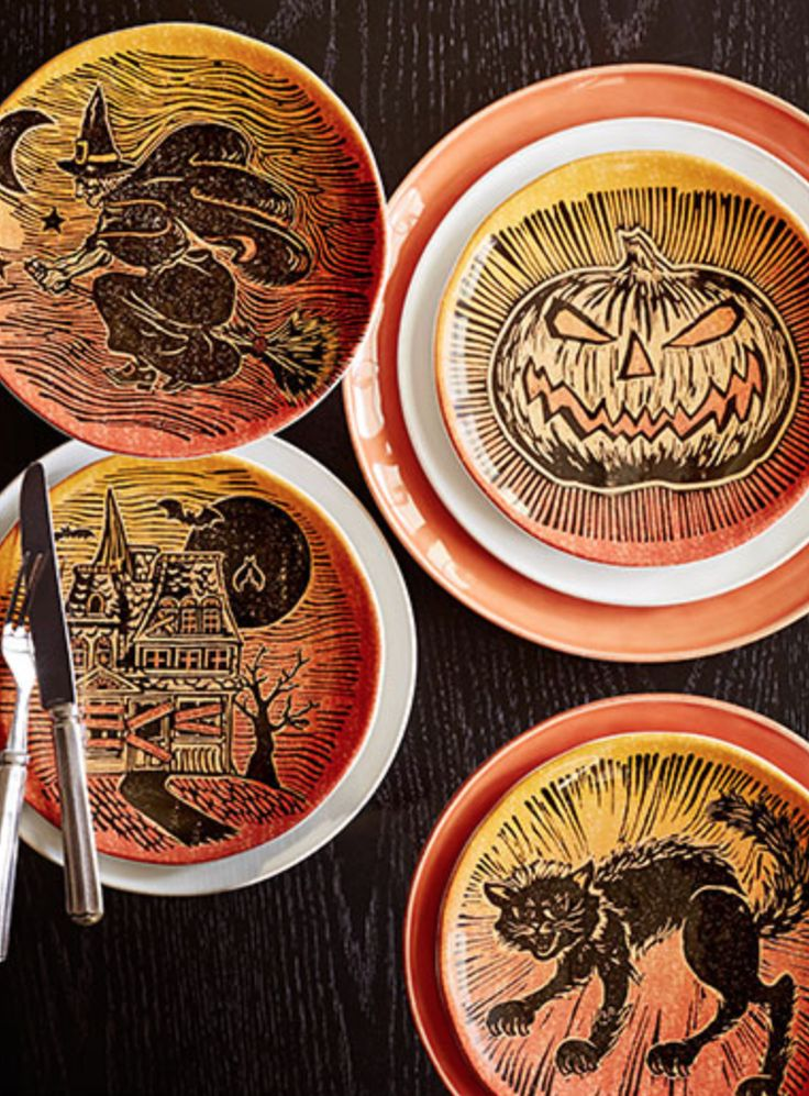 Gather guests around a table filed with sweet treats and spooky serveware. Clicku2026 & 26 best Halloween Plates and Napkins images on Pinterest | Halloween ...