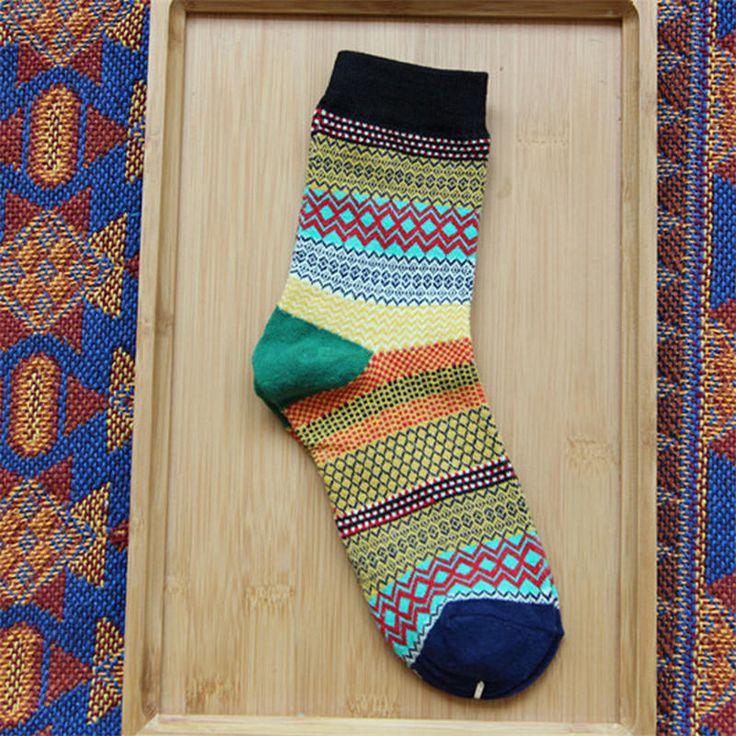 Unisex Women Men Harajuku Style Stripe Cotton Socks Design Multi-Color Mid Calf Hosiery at Banggood
