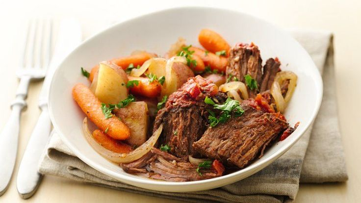 Pot roast is easier and tastier than ever! Need to make my Momma's pot roast!  It's the best in the crock pot and the secret is Meat Marinade packet and vinegar