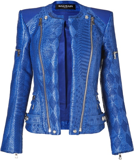 Balmain Gipsy Blue Woven Biker Jacket in Blue