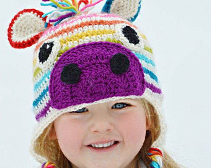 Rainbow Zebra Hat, Crochet Zebra Beanie, Rainbow Winter Hat, Zebra Striped Beanie, Rainbow Crochet Hat, Crochet Zebra Hat