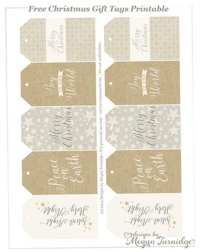 Free Neutral Christmas Gift Tags Printable