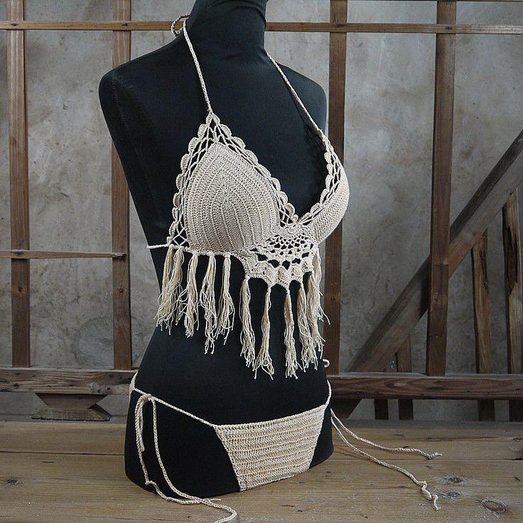 Vintage crochet bikini Set - Tassel Sexy BOHO Women Swimwear Swimming 13 Color #Handmade #CropTop
