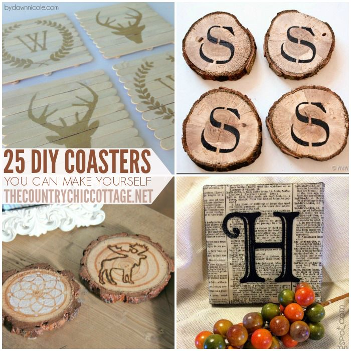 25 Coaster Crafts - Make coasters with wood slices, pallets, and lots of different diy coaster ideas