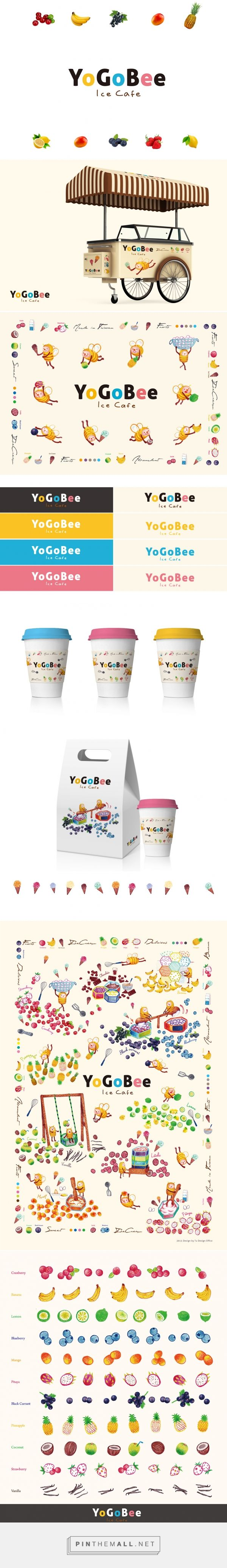 YoGoBee Ice Cafe logo packaging branding on Behance by Tu Min-Shiang curated by Packaging Diva PD. Cute and sweet : )
