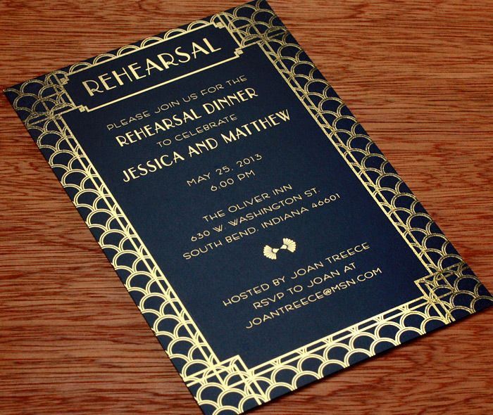 Art deco wedding invitations come to life with a beautiful contrast of black paper and gold foil.