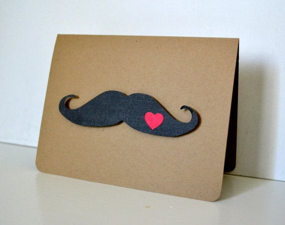 Ooh manly!!  Mustache Card Kraft   Handmade Blank by PapercutExpressions, $4.75