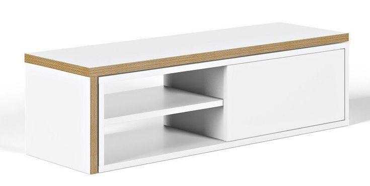 Move+TV-benk+-+Hvit+-+Praktisk+og+fott+TV-bord+med+en+bevegelig+topplate.+Toppen+kan+trekkes+ut+og+du+kan+derfor+velge+hvor+mye+plass+bordet+skal+ta+i+stuen.+Det+passer+derfor+godt+inn+i+hjem+hvor+det+skal+spares+på+gulvplassen.+På+den+ene+siden+til+TV-bordet+er+det+et+skap+med+skyvedør,+som+er+perfekt+å+benytte+til+å+skjule+elektronikk.