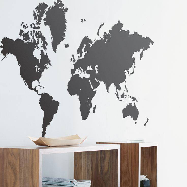 Ferm Living Wandsticker Weltkarte schwarz