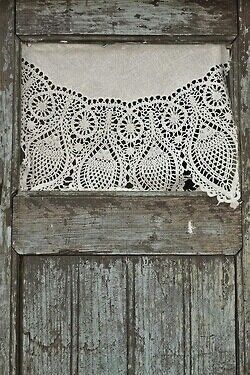 Soft, beautiful lace with patina on wood, simply gorgeous!