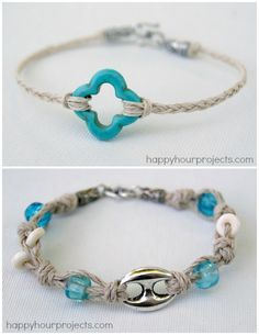 DIY Beginner Braided and Knotted Bracelet Tutorials from Happy Hour Projects. Both bracelets use hemp which is really cheap at the craft store. For more friendship bracelets of all types go here. Top Photo: Braided 10 Minute Hemp Bracelet Tutorial here. Bottom Photo: Knotted Hemp and Bead Bracelet Tutorial here.