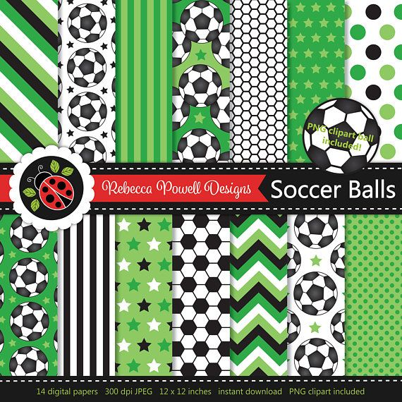 Soccer/ football digital paper set which includes a clipart PNG soccer ball! Great for crafts, scrapbooking, commercial and digital use. Available from Etsy & Teachers Pay Teachers #etsy #etsyseller #etsyshop #teacherspayteachers #soccer #football #sports #supplies #commercialuse #pattern #digitalpaperset #printablepapers #papers #crafts #scrapbooking #soccerballs #footballs #digitaldownload #digitalbackgrounds #green #clipart #resources #instantdownload #jpeg #png #stars #spots #stripes