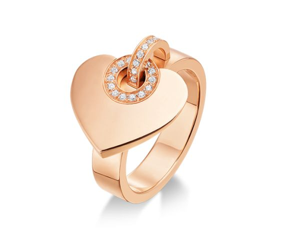 BVLGARI ring in 18kt pink gold with pave diamonds. Features a heart charm <3