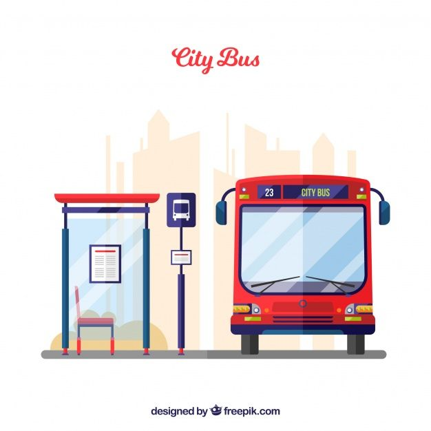 Download Urban Bus And Bus Stop With Flat Design For Free Bus Stop Design Bus Stop Cartoon School Bus