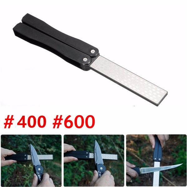 5 Inch Double-sided Folding Pocket Diamond Knife Sharpening Stone Sharpener 400 600 Grit. Description:  5 Inch Double-Sided Folding Pocket Diamond Knife Sharpening Stone Sharpener 400&600 Grit     Specification:  1.Diamond coated 400&600grit  2.Plastic Material:  ABS  3.Length: 5inch  Applicable scope: Widely used for outdoor knives, garden tools etc.  Quantity: 1pc     Product Feature:  1. Diamond-electroplated ensure efficient and sharp sharpening result  2. Double sided…