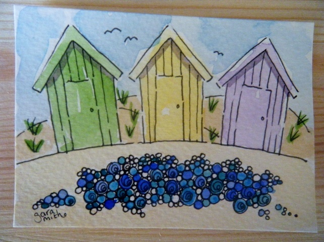 A Fun And Bright Pen Design Of Beach Huts Pebbles Painted With Watercolour This Cute Little Ilration Is On