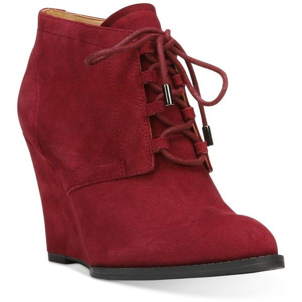 Franco Sarto Lennon Lace-Up Wedge Ankle Booties (9,435 INR) ❤ liked on Polyvore featuring shoes, boots, ankle booties, bordo, laced up wedge booties, lace up wedge boots, lace up booties, laced booties and pointed toe boots