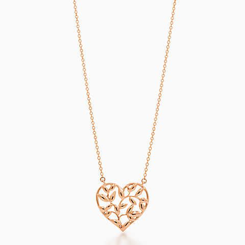 Paloma Picasso® Olive Leaf heart pendant in 18k rose gold.