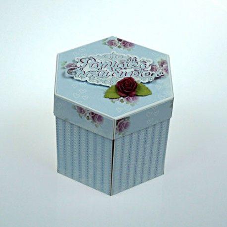 Pudełko - exploding box z życzeniami na chrzest