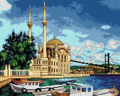 Kanwa Meczet Ortaköy - Kokardka - sklep internetowy - haft krzyżykowy, szydełkowanie, włóczki, robótki na drutach, kanwy, filcowanie, decoupage, robótki ręczne.