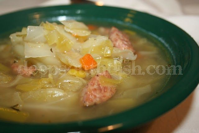 Leek and Cabbage Soup with Andouille Sausage