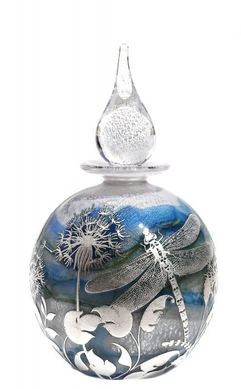 Dragonfly & Fauna reheat silver cameo Bottle | Opal white core with blue trails, silver & gold leaf | 15cm.
