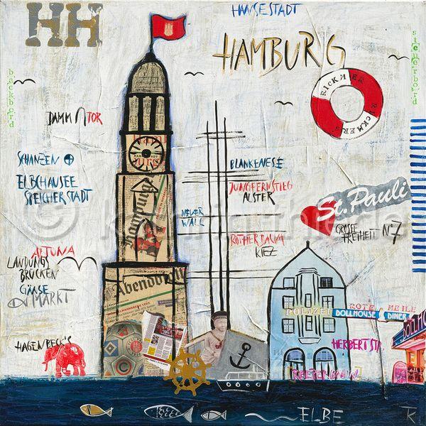 Hamburg -Große Freiheit - Kunstdruck auf Leinwand von canvasa auf DaWanda.com