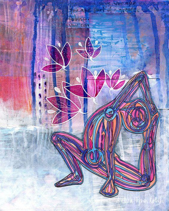 Yoga Art Print - Fabric of Being - yoga wall art, yoga room decor, yoga artwork, yoga gift by Eliza Lynn Tobin